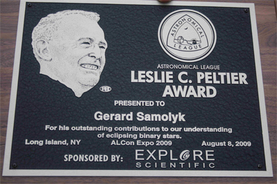 Peltier Award Plaque