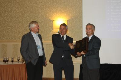 Peltier Award 2013 presented to John E. Bortle bo AL President, Carroll Iorg with AAVSO Director, Arnie Hendon (left)